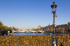 Pont des Arts and Eiffel Tower Stock Image