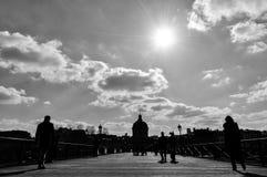 Pont des Arts en blanco y negro, París, Francia Fotografía de archivo libre de regalías