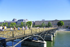Pont des Arts. The Pont des Arts (Arts or gateway) is a bridge crossing the Seine in central Paris. It connects the docks Malaquais Conti and at the Institut Royalty Free Stock Photos
