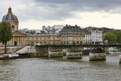 Pont des Arts and L'Institut de France. Royalty Free Stock Photos