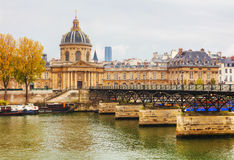 Pont des Arts leading to the Institut de France Royalty Free Stock Photo