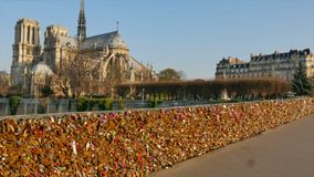 Pont des Arts-Notre Dame Cathedral, Paris stock video