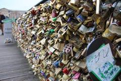Pont des Arts på floden Seine royaltyfri fotografi
