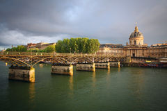 Pont des Arts in Paris. Pont des Arts and the Institut de France building in Paris Stock Photos