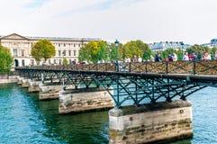 Pont des Arts Paris Frankrike Royaltyfria Bilder