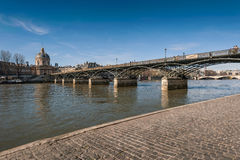The Pont des Arts or Passerelle des Arts is a pedestrian bridge Stock Photo