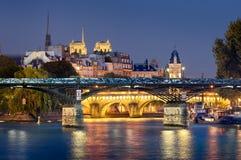 Pont des Arts, Pont-Neuf, Ile de Λα Cite, Παρίσι Στοκ Εικόνες
