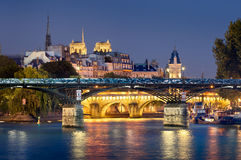 Pont des Arts, Pont Neuf, Ile de la Menção, Paris Foto de Stock