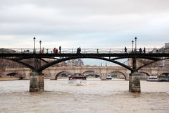 Pont des Arts, Seine river, Pont Royal in Paris Royalty Free Stock Image