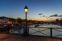 Free Pont Des Arts Street Lamp At Night. Paris Seine Bridge With Lantern. Morning River View Royalty Free Stock Images - 140972289