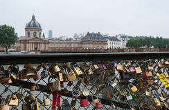 Pont des Arts. View of Mazarini's library in Paris. Royalty Free Stock Photo