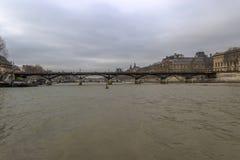 Pont des Arts, wie von Ile de la Cite, Paris, Frankreich gesehen Lizenzfreie Stockfotografie