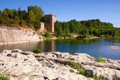 Pont di Gard, Roussilon, France - view at th river Stock Photo