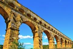 Pont Du加尔省看法  免版税库存图片
