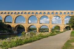 Pont du加尔省,古老罗马桥梁在普罗旺斯,法国 库存图片