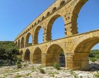 Pont du加尔省,古老罗马渡槽在南法国 免版税库存图片