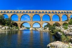 Pont du加尔省,尼姆,普罗旺斯,法国 免版税图库摄影