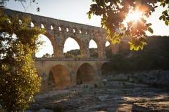 Pont du加尔省,朗戈多克-鲁西荣 免版税库存图片