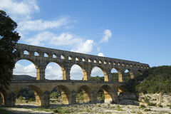 Pont du Гар, старое римское строение моста мост-водовода в ОБЪЯВЛЕНИИ первого века Стоковая Фотография