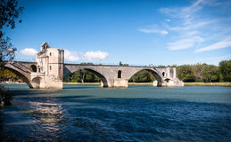 Pont du Avignon and Le Rhone river Stock Photos