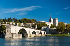 Pont du Avignon over Rhone river and old city Stock Images