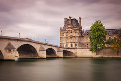 Pont du Carrousel in Paris from Seine river Royalty Free Stock Photos