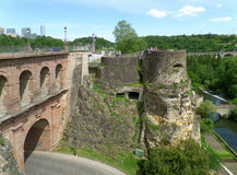 Pont du Chateau and Bock Casemates at Luxembourg City. Luxembourg Royalty Free Stock Photography