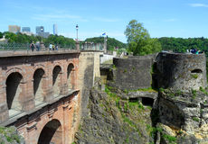 Pont du Chateau or the Castle Bridge and Bock Casemates, Luxembourg City. Luxembourg Royalty Free Stock Photos