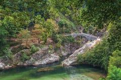 Pont du Diable或恶魔桥梁是跨过河Ardeche的一座罗马桥梁 免版税库存照片