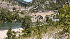 Pont du Diable at L'Herault river, France stock video