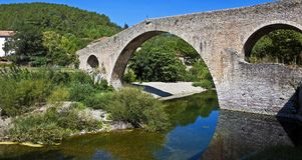 Pont du Diable, Olargues, Frankrike Royaltyfri Bild