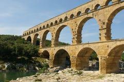 Pont du Gard,罗马桥梁在普罗旺斯,法国 图库摄影