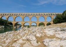 Pont du Gard,罗马桥梁在普罗旺斯,法国 库存照片