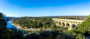 Pont du Gard är en gammal romersk akvedukt nära Nimes Fotografering för Bildbyråer
