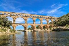 Pont du Gard, Nimes, Provence, Frankrike Fotografering för Bildbyråer
