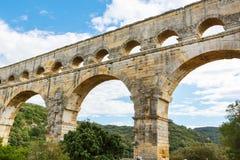 Pont-du-Gard, ένα παλαιό ρωμαϊκό υδραγωγείο κοντά στο Νιμ σε νότιο φράγκο στοκ φωτογραφίες