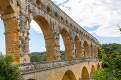 Pont-du-Gard, ένα παλαιό ρωμαϊκό υδραγωγείο κοντά στο Νιμ σε νότιο φράγκο στοκ εικόνες