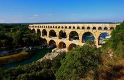 pont du gard мост-водовода римское стоковое фото