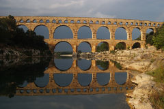 Pont Du Gard. Old roman bridge in southern France, one of top five France tourist attractions Royalty Free Stock Images