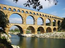 Pont du Gard. Is an old Roman aqueduct, southern France near Nimes Stock Photography
