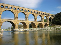 Pont du Gard. Is an old Roman aqueduct, southern France near Nimes Stock Image