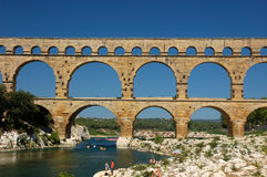 Pont du Gard. Roman Aqueduct in the South of France Royalty Free Stock Photos