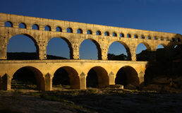 Pont du Gard. Roman Aqueduct in the South of France, illuminated at night Stock Images
