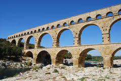 Pont du Gard. Aqueduct, Pont du Gard, Nimes, the aqueduct is 49 m high and was build by the romans, Marcus Vipsanius Agrippa, around the year 19 BC. Listed on Stock Images