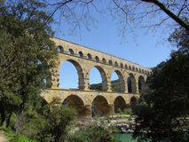 Pont du Gard. Is an ancient Roman aquaeduct in the Rhone valley area in southern France Stock Image