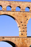 Pont du Gard. Detail of the Pont du Gard Aqueduct Stock Photo