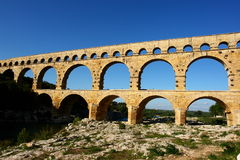 Pont du gard. Aqueduct of pont du gard Stock Photography