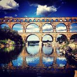 Pont du Gard. Ancient Roman Aqueduct Royalty Free Stock Image