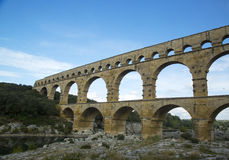 The Pont du Gard, an ancient Roman aqueduct bridge build in the 1st century AD Stock Image
