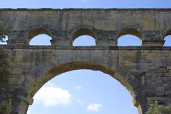 The Pont du Gard, ancient Roman aqueduct bridge build in the 1st century AD in Southern France Stock Image